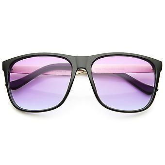 Moderne hoorn omrande verloop gekleurde Lens metaal Temple Square zonnebril 56mm