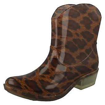 Womens Spot On Cowgirl Ankle Wellington Boots