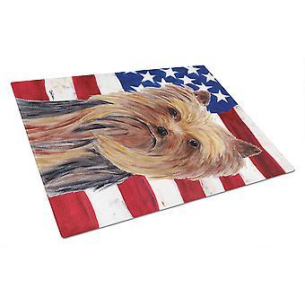 Carolines skatter SC9013LCB USA amerikanska flaggan med Yorkie glas skärbräda