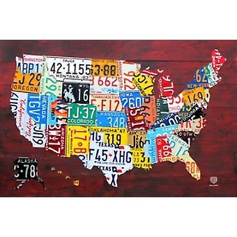 TARGA di immatricolazione Mappa Stati Uniti Poster Poster Print