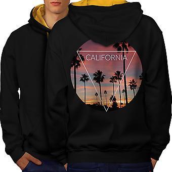California Palm miesten musta (Gold Hood) kontrasti huppari takaisin | Wellcoda