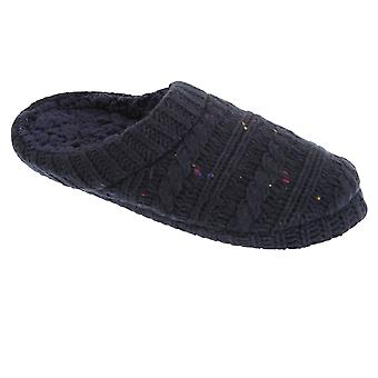 Slumberzzz Mens Knitted Speckle Slipper Shoes