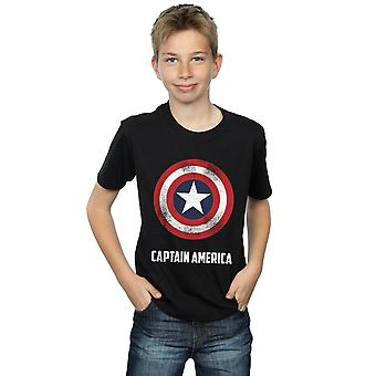 Marvel Boys Captain America Shield Text T-Shirt