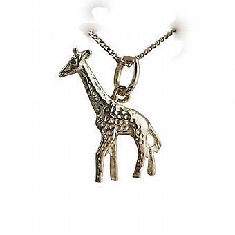 9ct Gold 20x13mm Giraffe Kettenanhänger mit einem Bordstein Kette 20 Zoll
