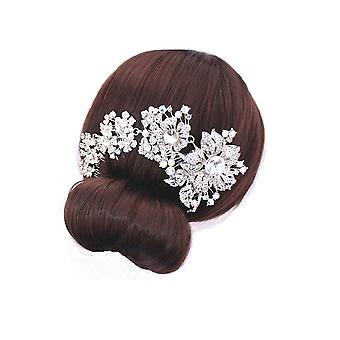 Wedding accessory White Crystal Flower Comb 5946