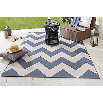Design In- und Outdoorteppich Flachgewebe Unique blau beige