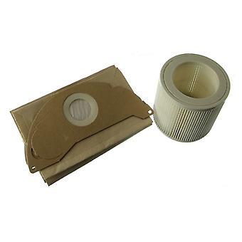 Karcher våt og tørr støvsuger støv poser x 5 og filteret sette x 1