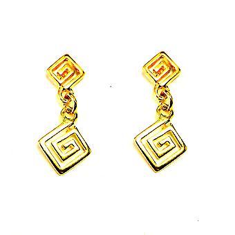 Sterling sølv 18 Karat Guld Overlay græske centrale dråbe øreringe