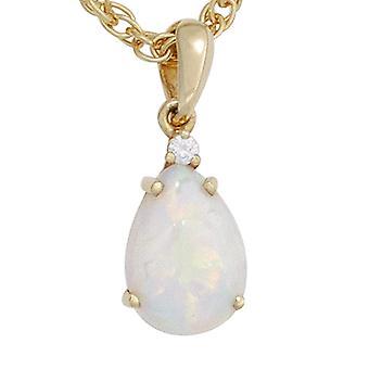 Opal hänge hänge 585 vitt guld gul guld 1 Opal 1 diamant briljant 0, 02 ct.