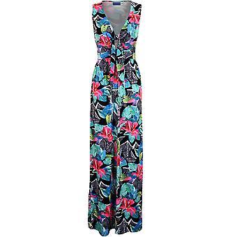 Ladies ermeløse lav spranget V hals knute Tie foran Floral Sexy Maxi Boho kjole