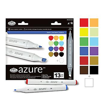 Royal & Langnickel Azure Dual Tip Marker Set of 12 + 1 Basic Colours