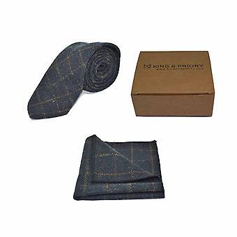 Patrimonio controllare cravatta blu Navy & fazzoletto da taschino impostato - Tweed, tartan Country Look |