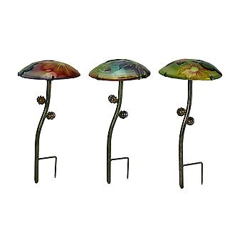 Glow In the Dark Glass Mushroom Garden Stakes Set of 3