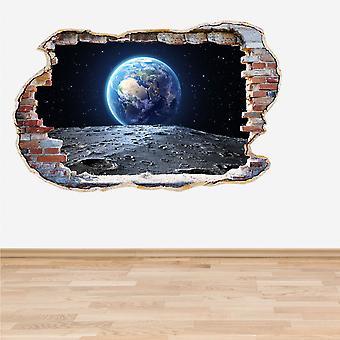 اللون كامل الأرض والقمر حطموا الجدار تأثير 3D الجدار اللاصق