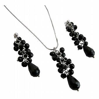 Sparkling Jet Glass Beads Cluster Pendant Earrings Teardrop Necklace