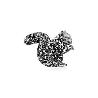 Gemondo Sterling Silver Emerald & Marcasite Squirrel Brooch