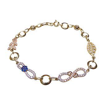 14 k bicolor bracelet with cubic zirconia