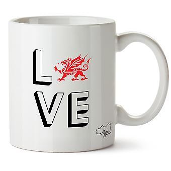 Hippowarehouse kjærlighet Wales trykte krus Cup keramiske 10 Unzen