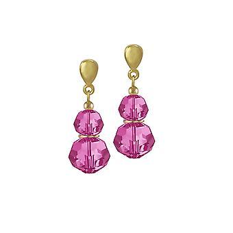 Eternal Collection Echo Fuchsia Austrian Crystal Gold Tone Drop Pierced Earrings