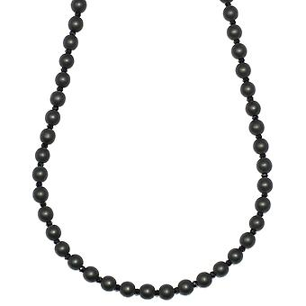 Onyx and Facetted Crystal Beaded Necklace 6mm x 30 inches long