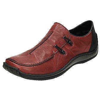 Rieker SLIP em sapatos de couro Flat loafer L1751-35