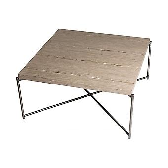 Gillmore Weathered Oak Square Coffee Table With Gun Metal Cross Base