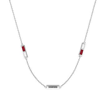 Stanford University Sterling Silver Engraved Triple Station Necklace In Red & White