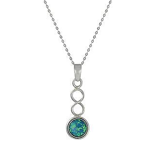 Ewige Sammlung Oktober blau Opal Birthstone Sterling Silber Anhänger