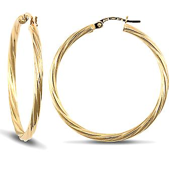 Jewelco London Ladies 9ct Yellow Gold Twisted 2.5mm Hoop Earrings 34mm