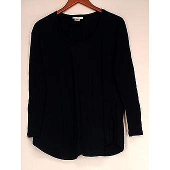 OSO Casuals Top Extended Shoulder Long Sleeve Back Lace Blue Womens A402467
