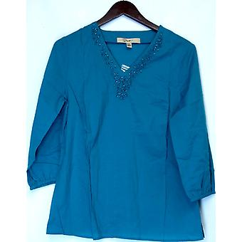 Motto 3/4 Sleeve Tunic w/ Embellished Tunic Turquoise Blue A212786