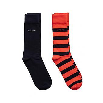 Gant D1. 2 kpl Barstripe-ja Stevig sukat veren oranssi