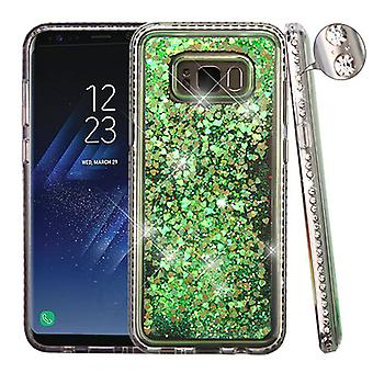 Diamante Frame (T-Clear)/Quicksand (Fluorescent Green Hearts) Glitter Hybrid Case for Galaxy S8 Plus