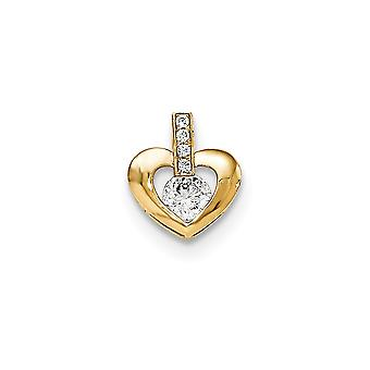 14k Yellow Gold Cubic Zirconia for boys or girls Heart Pendant