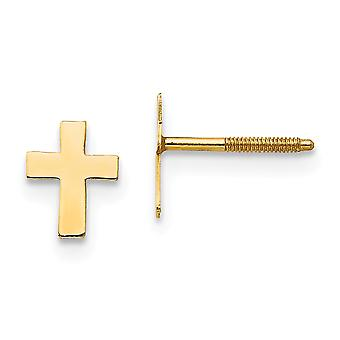 14k Yellow Gold Flat back Screw back Post Earrings Polished Tiny for boys or girls Religious Faith Cross Screw back Earr