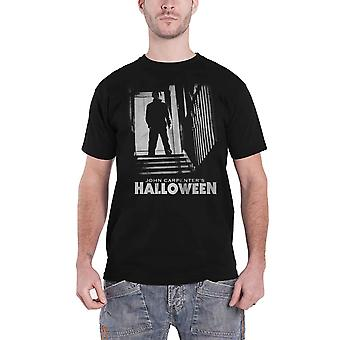 Halloween T Shirt Michael Stairs Horror Movie Logo new Official Mens Black