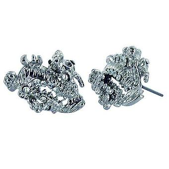 Pendientes Plata Cz Iced Out Dragon