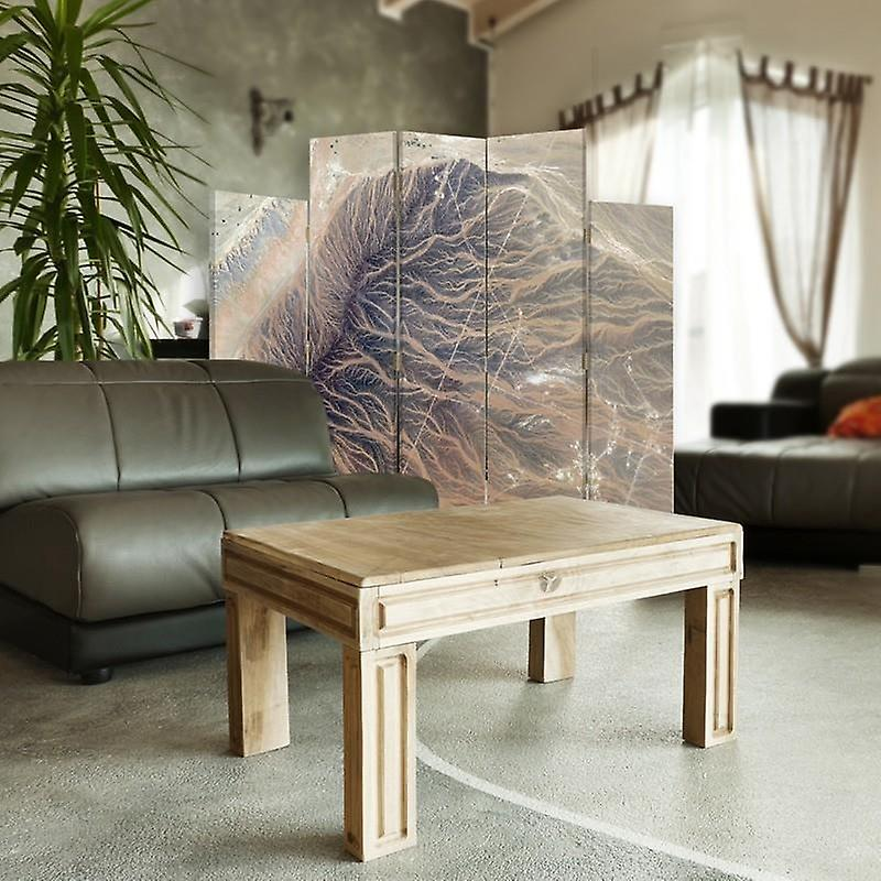 Diviseur de pièce décorative, 5 panneaux, toile, abstraction structurale 3