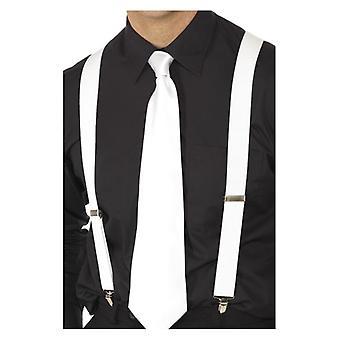 Tirantes elásticos blanco, blanco, con Metal mantenga Clip accesorio de disfraces