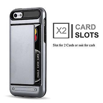 מקרה קדובו עבור Apple iPhone 5/iPhone 5S/iPhone SE-מקרה בשריון כסף-מקרה טלפון עם מגש כרטיס-מקרה קשה TPU סיליקון מקרה מגן עבור כיסוי היברידית בעיצוב בחוץ חובה כבד