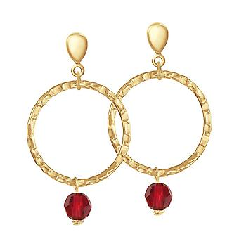 Eternal Collection Infinito Gold And Red Crystal Gold Tone Hoop Screw Back Clip On Earrings