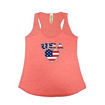 EUA bandeira Tri-mistura regata coração de mulher