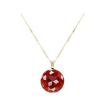 GEMSHINE Halskette vollfacettierter Karneol Edelstein 925 Silber oder vergoldet