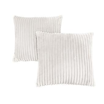 "18"" x 18"" Ivory, Ultra Soft Ribbed Style - Pillow 2pcs"