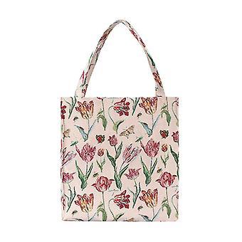 Marrel's tulip white shopper gusset bag by signare tapestry / guss-jmtwt