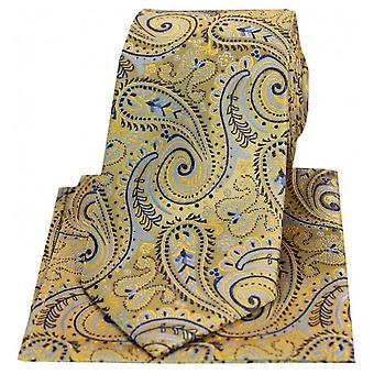 Posh and Dandy Swirly Paisley Silk Tie and Hanky Set - Gold/Blue