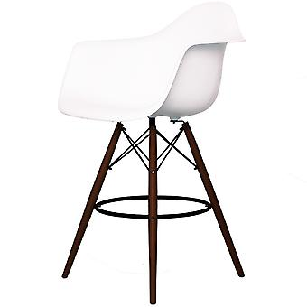 Charles Eames Style White Plastic Bar Stool With Arms - Walnut Legs