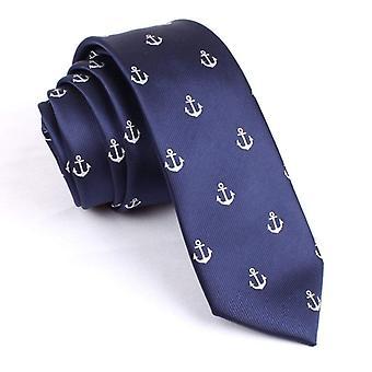 Navy blue & white skinny anchor design necktie