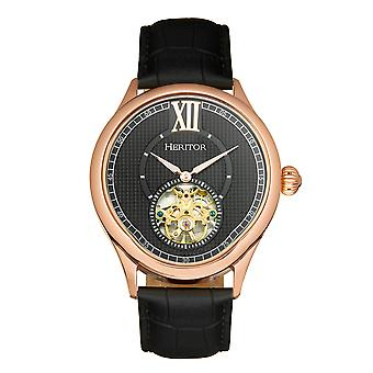 Heritor Automatic Hayward Semi-Skeleton Leather-Band Watch - Rose Gold/Black
