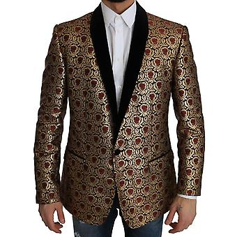 Dolce & Gabbana Gold Jacquard Martini Baroque Blazer